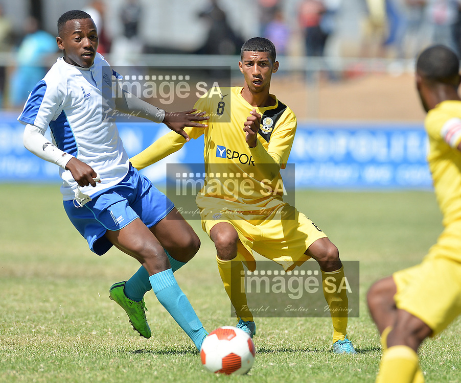 CAPE TOWN, SOUTH AFRICA - Monday 28 March 2016, Moegamat Rylands of Milano United during the mid section final match between Hellenic and Milano United during the final day of the Metropolitan U19 Premier Cup at Erica Park in Belhar. <br /> Photo by Roger Sedres/ImageSA