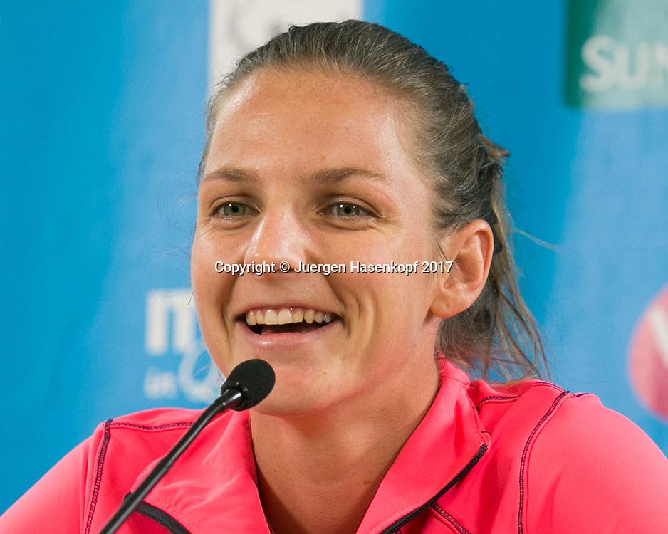 KAROLINA PLISKOVA (CZE), Pressekonferenz, Portrait.<br /> <br /> Tennis - Brisbane International  2017 - WTA -  Pat Rafter Arena - Brisbane - QLD - Australia  - 1 January 2017. <br /> &copy; Juergen Hasenkopf