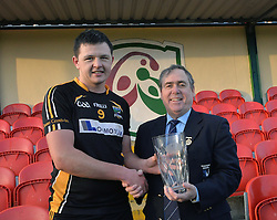 Man of the match Louisburgh&rsquo;s Padraig Prendergast accepts from the award from Mick Rock Connacht GAA. <br /> Pic Conor McKeown