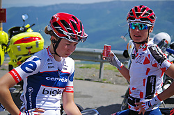 Cecilie Uttrup Ludwig (DEN) and Ashleigh Moolmann-Pasio (RSA) of Cervélo-Bigla Cycling Team contemplate the happenings of Stage 4 the Emakumeen Bira - a 58 km road race, between Etxarri Aranatz and San Miguel on May 20, 2017, in Basque Country, Spain. (Photo by Saul Miguel/Velofocus)