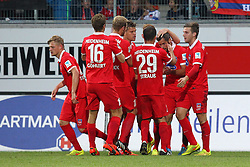 24.09.2014, Voith Arena, Heidenheim, GER, 2. FBL, 1. FC Heidenheim vs 1. FC Nuernberg, 7. Runde, im Bild Jubel nach dem 3:0 von Patrick Mayer (1.FC Heidenheim) // during the 2nd German Bundesliga 7th round match between 1. FC Heidenheim and 1. FC Nuernberg at the Voith Arena in Heidenheim, Germany on 2014/09/24. EXPA Pictures © 2014, PhotoCredit: EXPA/ Eibner-Pressefoto/ Langer<br /> <br /> *****ATTENTION - OUT of GER*****