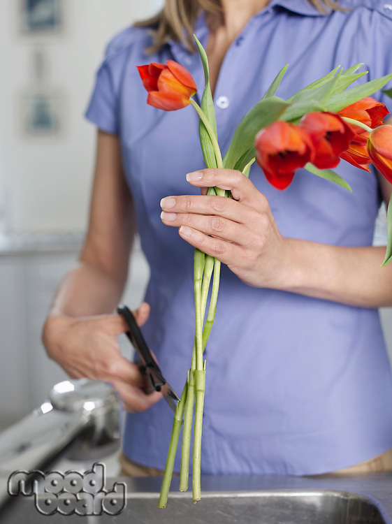 Mid-adult woman rinsing and cutting flowers in kitchen sink mid section