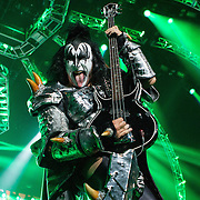 Gene Simmons, bass player of KISS at the Gexa Energy Pavilion in Dallas Texas on their 40th Anniversary World Tour.