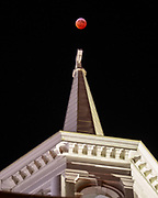 """The so-called """"super blood wolf moon"""" lunar eclipse is seen over Seminary Ridge, Monday, Jan. 21, 2019, in Gettysburg."""