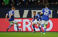 FUSSBALL   1. BUNDESLIGA  SAISON 2012/2013   7. Spieltag   FC Schalke 04 - VfL Wolfsburg        06.10.2012 Lewis Holtby, Ibrahim Afellay und Klaas Jan Huntelaar (v.l., alle FC Schalke 04) bejubeln das Tor zum 2:0
