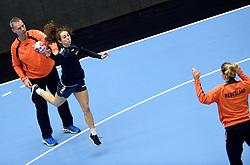 19-12-2015 DEN: World Championships Handball 2015 Training Oranje, Herning<br /> Na een rustige training werd er een persmoment gehouden / Ass. coach Peter Portengen, Sanne Hoekstra #29, Tess Wester #33