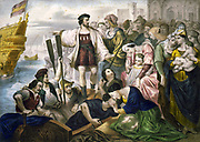 Christopher Columbus about to embark for the New World from Palos, Spain, 8 August 1492.  Women and children  sad at departure of loved ones. Print c1860. Exploration Discovery America