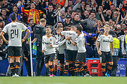 GOAL 0-1 Valencia forward Rodrigo Moreno (19) scores and celebrates during the Champions League match between Chelsea and Valencia CF at Stamford Bridge, London, England on 17 September 2019.
