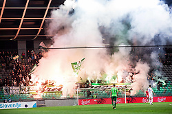 Green Dragons, supporters of Olimpija during 1st Leg football match between NK Olimpija Ljubljana and NK Maribor in Semifinal of Slovenian Football Cup 2016/17, on April 5, 2017 in SRC Stozice, Ljubljana, Slovenia. Photo by Vid Ponikvar / Sportida