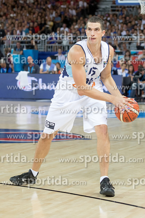 06.09.2015, Park Suites Arena, Montpellier, FRA, Bosnien und Herzegowina vs Frankreich, Gruppe A, im Bild MILAN MILOSEVIC (15) // during the FIBA Eurobasket 2015, group A match between Bosnia an Herzegowina and France at the Park Suites Arena in Montpellier, France on 2015/09/06. EXPA Pictures &copy; 2015, PhotoCredit: EXPA/ Newspix/ Pawel Pietranik<br /> <br /> *****ATTENTION - for AUT, SLO, CRO, SRB, BIH, MAZ, TUR, SUI, SWE only*****