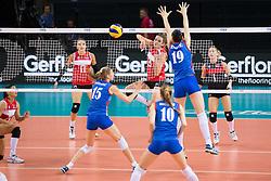 16.07.2015, Porsche-Arena, Stuttgart, GER, FIVB World Grand Prix, Tuerkei vs Serbien, Damen, im Bild Angriff Nilay Ozdemir #23 (Tuerkei/Turkey) // during the women's FIVB 2015 World Grand Prix match between Turkey and Serbia at the Porsche-Arena in Stuttgart, Germany on 2015/07/16. EXPA Pictures © 2015, PhotoCredit: EXPA/ Eibner-Pressefoto/ Wuechner<br /> <br /> *****ATTENTION - OUT of GER*****