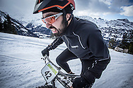 Danijel Kovacic of Slovenia battle up the climb during stage 2 and 3 of the first Snow Epic, the ascent and decent of Brunni Hütte near Engelberg, in the heart of the Swiss Alps, Switzerland on the 16th January 2015<br /> <br /> Photo by:  Nick Muzik / Snow Epic / SPORTZPICS