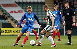 George Cooper of Peterborough United in action with David Fox of Plymouth Argyle - Mandatory by-line: Joe Dent/JMP - 07/04/2018 - FOOTBALL - Home Park - Plymouth, England - Plymouth Argyle v Peterborough United - Sky Bet League One