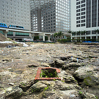 Ground view of the Flagler Royal Palm Hotel fresh water well in the Tequesta archaeology site at the Met Square development,  downtown Miami. Site managed by Archaeological and Historical Conservancy (AHC).