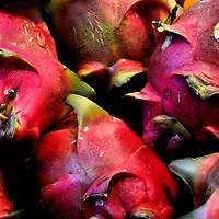 Dragon Fruits Called Pitaya at Farmers Market in Vancouver, Canada