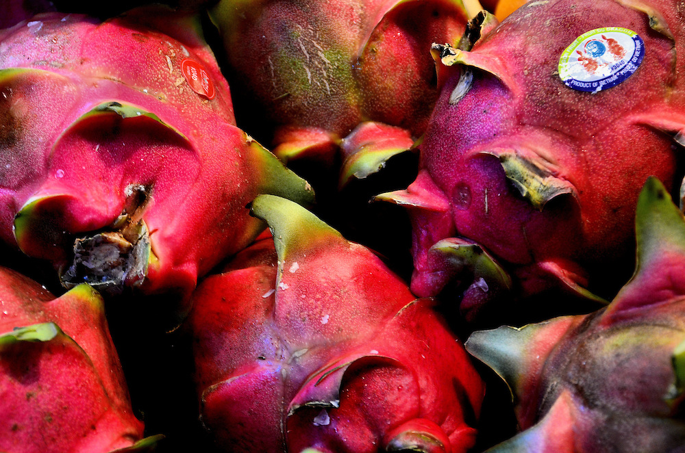 Dragon Fruits Called Pitaya at Farmers Market in Vancouver, Canada