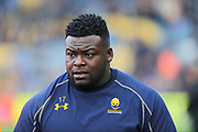 Worcester Warriors Biyi Alo Prop (3) warming up before the Aviva Premiership match between Worcester Warriors and Bath Rugby at Sixways Stadium, Worcester, United Kingdom on 15 April 2017. Photo by Gary Learmonth.