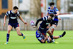 Tom Wilstead of Bristol Bears U18 and Benjy Joseland of Bristol Bears U18 - Rogan/JMP - 14/12/2019 - RUGBY UNION - Shaftesbury Park - Bristol, England - Bristol Bears U18 v Bath Rugby U18 - Premiership Rugby U18 Academy League.