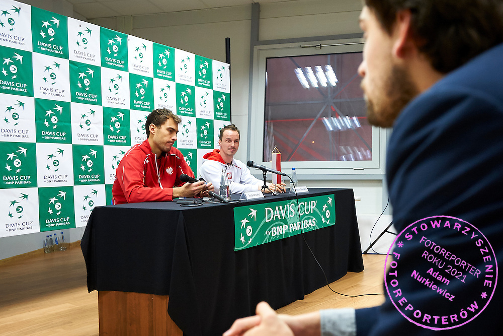 (L) Jerzy Janowicz and (R) Radoslaw Szymanik - captain national team of Poland while press conference during first day the Davies Cup / Group I Europe / Africa 1st round tennis match between Poland and Lithuania at Orlen Arena on March 6, 2015 in Plock, Poland<br /> Poland, Plock, March 6, 2015<br /> <br /> Picture also available in RAW (NEF) or TIFF format on special request.<br /> <br /> For editorial use only. Any commercial or promotional use requires permission.<br /> <br /> Mandatory credit:<br /> Photo by &copy; Adam Nurkiewicz / Mediasport