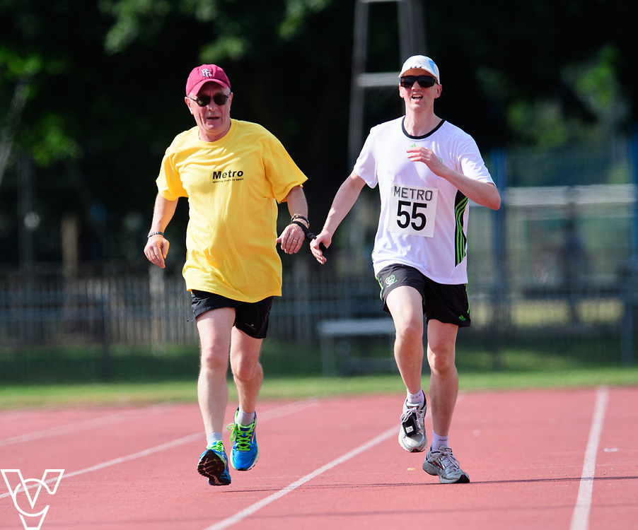 Metro Blind Sport's 2017 Athletics Open held at Mile End Stadium.  5000m.  Competitor #55 with guide runner <br /> <br /> Picture: Chris Vaughan Photography for Metro Blind Sport<br /> Date: June 17, 2017