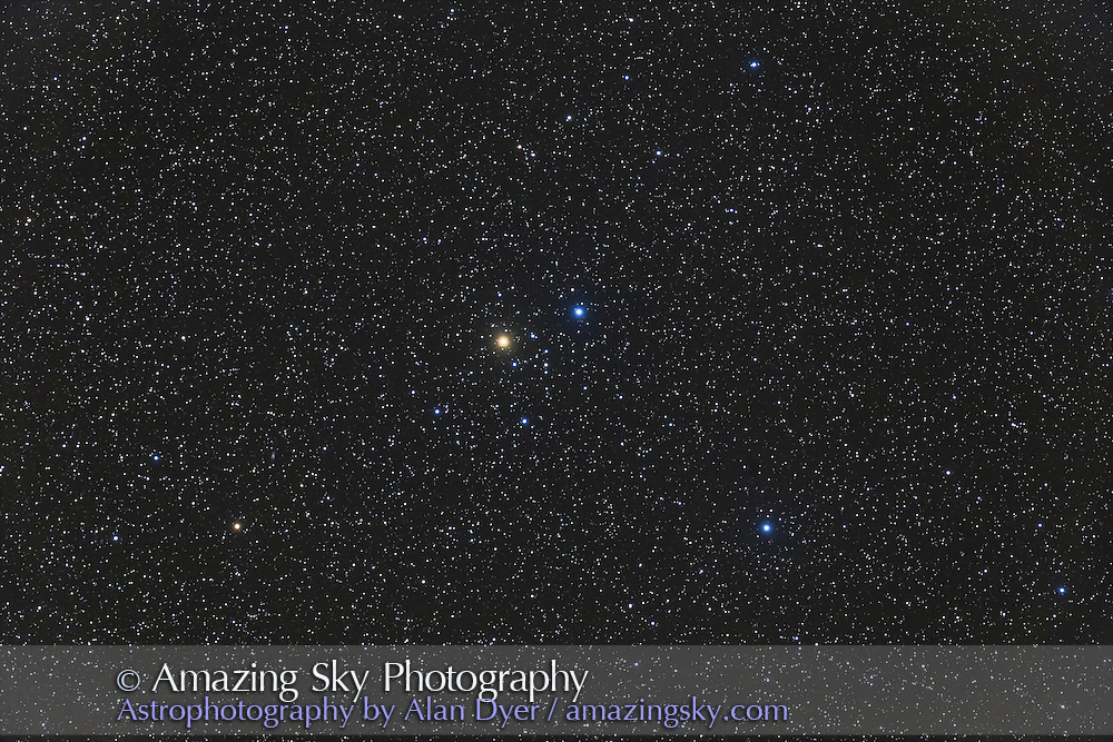 Delta Lyrae,a wide double star and loose star cluster known as Stephenson 1, in Lyra. Taken from home Nov. 25, 2016 with the 130mm AP f/6 apo refactor with the 6x7 field flattener and Canon 6D at ISO 800 for a stack of 4 x 3 minute exposures.