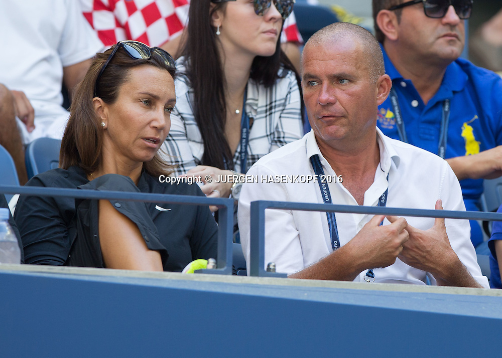 ANA KONJUH TEAM, Iva Majoli und Manager Philippe Weiss<br /> <br /> Tennis - US Open 2016 - Grand Slam ITF / ATP / WTA -  USTA Billie Jean King National Tennis Center - New York - New York - USA  - 7 September 2016.