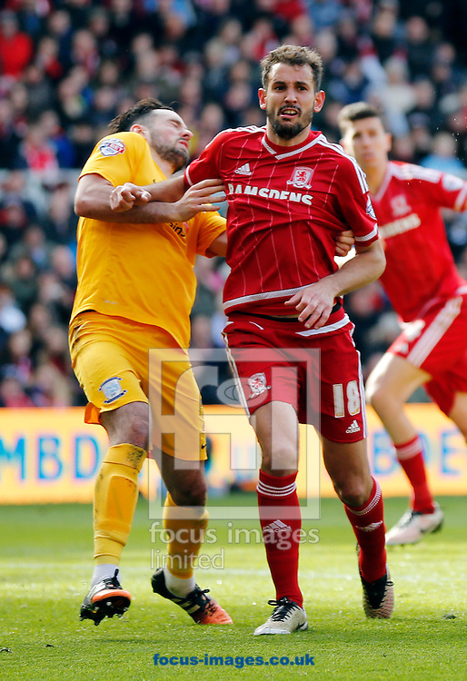Christian Stuani (r) of Middlesbrough and Greg Cunningham of Preston North End come together during the Sky Bet Championship match at the Riverside Stadium, Middlesbrough<br /> Picture by Simon Moore/Focus Images Ltd 07807 671782<br /> 09/04/2016