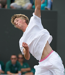 LONDON, ENGLAND - Friday, July 1, 2011: Liam Broady (GBR), wearing pink Bjorn Borg underwear, in action during the Boys' Singles Semi-Final match on day eleven of the Wimbledon Lawn Tennis Championships at the All England Lawn Tennis and Croquet Club. (Pic by David Rawcliffe/Propaganda)