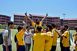 June 30, 2019 - Srinagar, J&K, India - Kashmiri visually impaired cricket players celebrate after winning a match in Srinagar..The first ever blind cricket tournament was organized by J&K Handicapped Association and Disable People's Trust for the visually-impaired players here in Srinagar. The motive behind this tournament is to encourage players to take part in sports events and boost their morals so that they can also make a career in sports. (Credit Image: © Saqib Majeed/SOPA Images via ZUMA Wire)