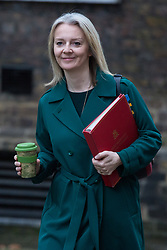 London, UK. 18th December, 2018. Elizabeth Truss MP, Chief Secretary to the Treasury, arrives at 10 Downing Street for the final Cabinet meeting before the Christmas recess. Topics to be discussed were expected to include preparations for a 'No Deal' Brexit.