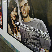 Subway Advertisement - Fight AIDS Ads SHE KNOWS HE KNOWS HIV testing subway poster NYC