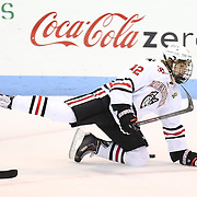 Zach Aston-Reese #12 of the Northeastern Huskies falls to the ice during the game at Matthews Arena on February 22, 2014 in Boston, Massachusetts. (Photo by Elan Kawesch)