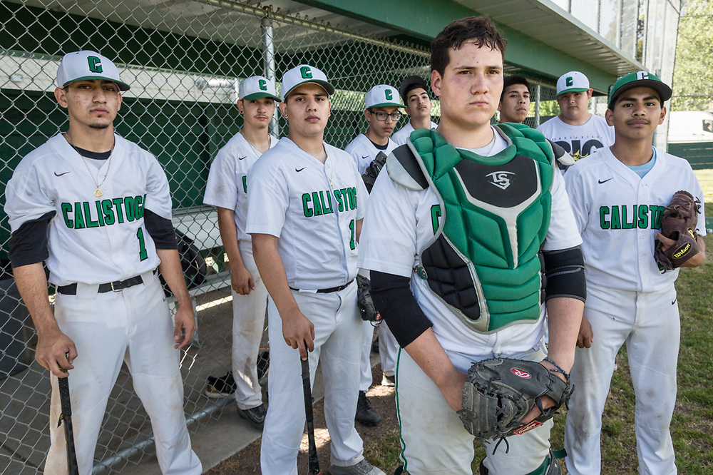 """We had a very rough start this season but we were tough to beat at the end.""  -Catcher Jorge Lopez stands with members of the Calistoga High School baseball team."