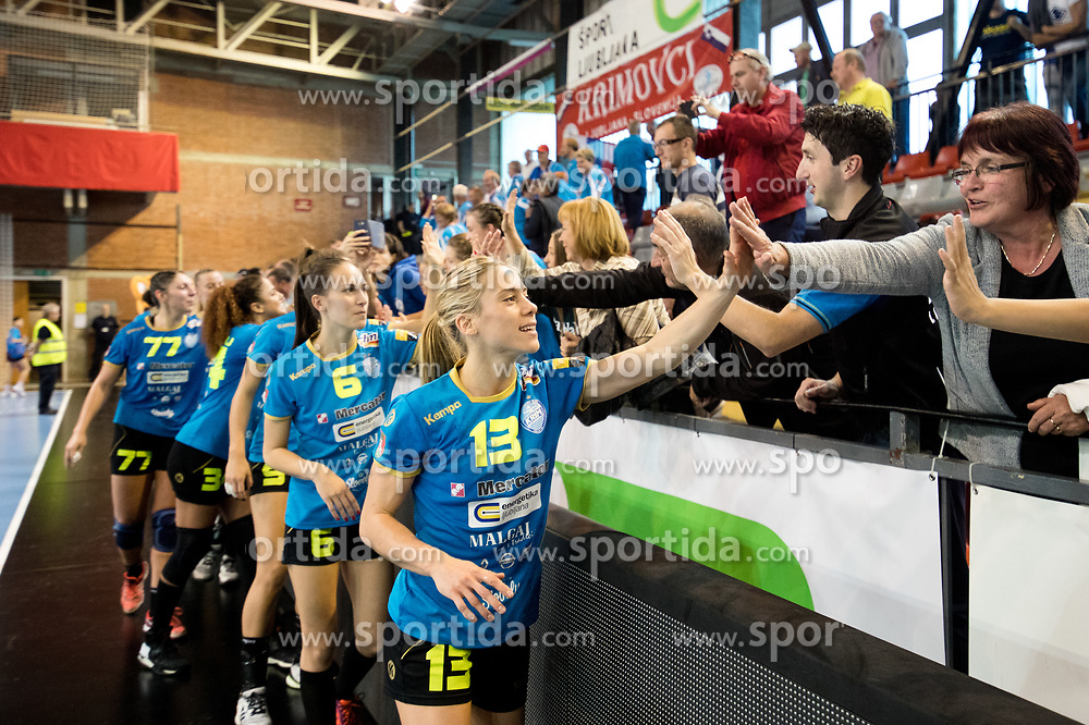 Polona Baric of RK Krim Mercator celebrates with fans after handball match between RK Krim Mercator and NFH - Nykobing Falster in Group Matches of Women's EHF Champions League 2017/18, on October 14, 2017 in Arena Kodeljevo, Ljubljana, Slovenia.