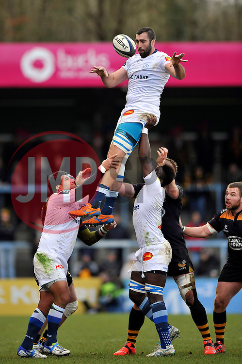 Benjamin Desroche of Castres Olympique wins lineout ball - Photo mandatory by-line: Patrick Khachfe/JMP - Mobile: 07966 386802 14/12/2014 - SPORT - RUGBY UNION - High Wycombe - Adams Park - Wasps v Castres Olympique - European Rugby Champions Cup