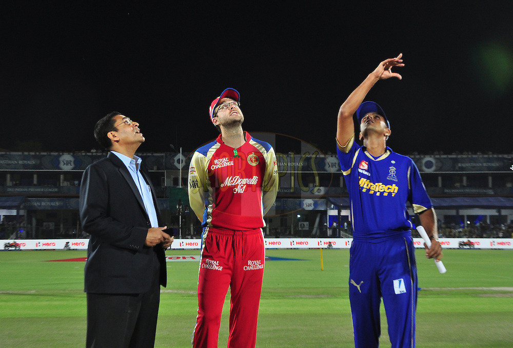 Royal Challengers Bangalore captian Daniel Vettori and  Rajasthan Royals captian Rahul Dravid with Roshan Mahanamaduring toss match 30 of the the Indian Premier League ( IPL) 2012  between The Rajasthan Royals and the Royal Challengers Bangalore held at the Sawai Mansingh Stadium in Jaipur on the 23rd April 2012Photo by Arjun Panwar/IPL/SPORTZPICS