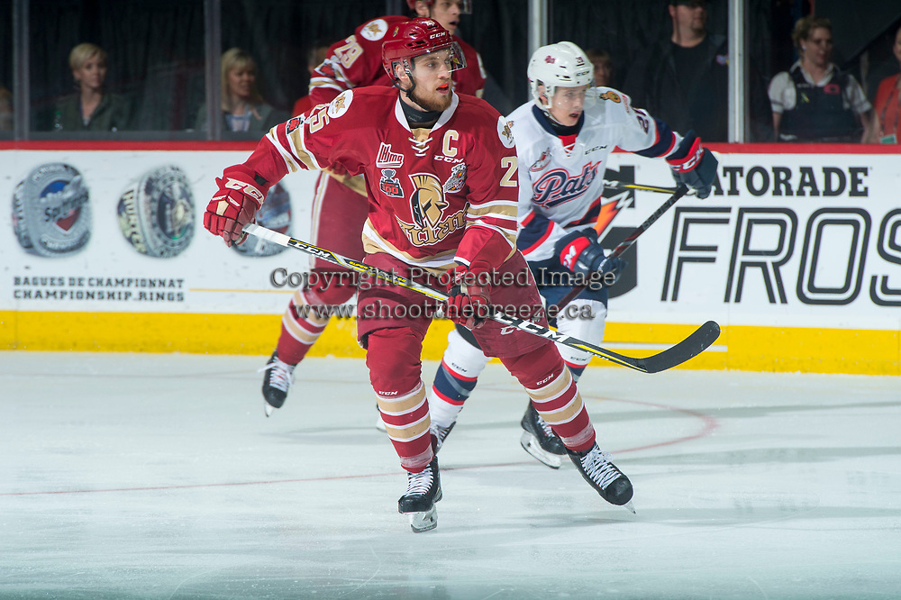 REGINA, SK - MAY 27: Jeffrey Truchon-Viel #25 of Acadie-Bathurst Titan skates against the Regina Pats at the Brandt Centre on May 27, 2018 in Regina, Canada. (Photo by Marissa Baecker/CHL Images)