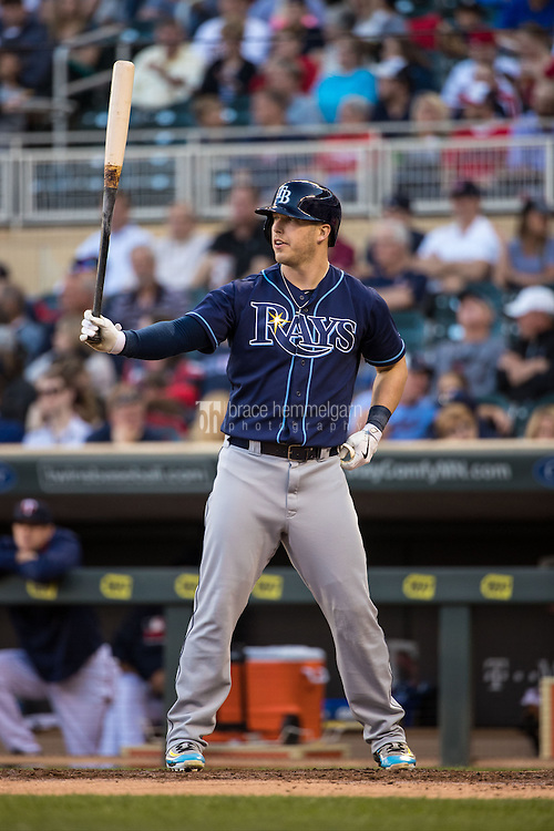 MINNEAPOLIS, MN- JUNE 02: Corey Dickerson #10 of the Tampa Bay Rays bats against the Minnesota Twins on June 2, 2016 at Target Field in Minneapolis, Minnesota. The Twins defeated the Rays 6-4. (Photo by Brace Hemmelgarn) *** Local Caption *** Corey Dickerson