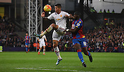 Marcos Rojo deals with the ball under pressure from Yannick Bolasie during the Barclays Premier League match between Crystal Palace and Manchester United at Selhurst Park, London, England on 31 October 2015. Photo by Michael Hulf.