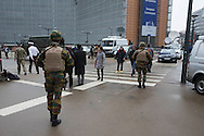 Military gurding the EU Council building Justus Lipsius and EU Commission at Place Schuman the day after the explosion at Maelbeek Metro station and Brussels Airport in Brussels. Photo: Erik Luntang