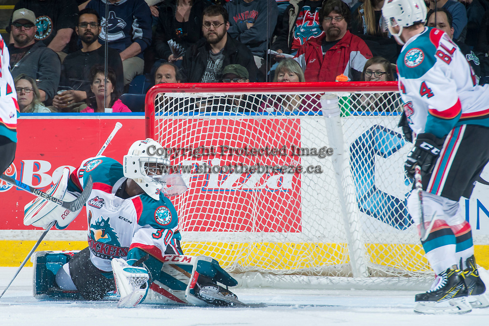 KELOWNA, CANADA - APRIL 30: Michael Herringer #30 of the Kelowna Rockets deflects a shot against the Seattle Thunderbirds on April 30, 2017 at Prospera Place in Kelowna, British Columbia, Canada.  (Photo by Marissa Baecker/Shoot the Breeze)  *** Local Caption ***