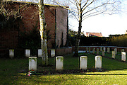 France, Thu 9 Dec. 2010: The gravestone of Captain Osbert Harold Brown, DSO, MC, who was killed in action on 1st November 1916. The gravestone is situated on the left hand side and in front of the tree in the image from the Brewery Orchard Cemetery in Bois Grenier. The cemetery contains the graves of 201 British, 125 Australian, 13 New Zealand and 5 German soldiers from the First World War.