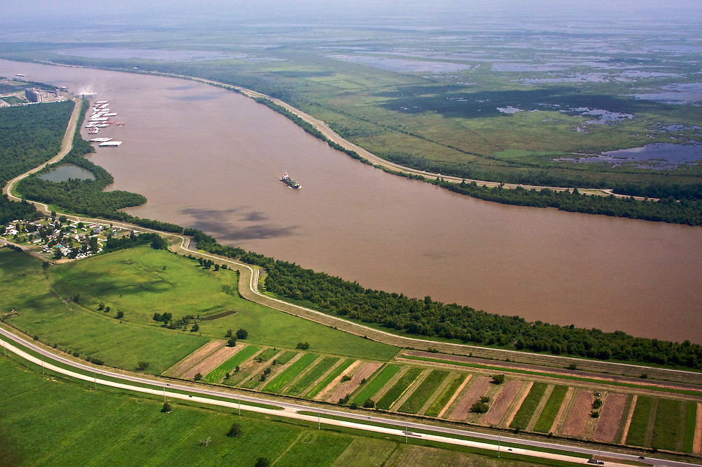 Mississippi River near Port Sulphur, Louisiana, USA (View NE)
