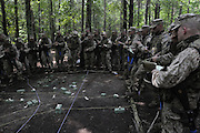 Marine Corps Base Quantico..Marine officers in debriefing after training exercise in assaulting an 'enemy held village'..The Basic School at Camp Barrett  is where all incoming Marine officers are trained. Seven companies of about 300 officers come through every year..Bravo company, shown here, undergoes training before sent out to lead Marine units.