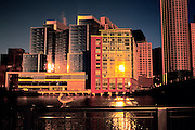 Image of the Boston skyline of downtown buildings and Fort Point Channel at dawn, Boston, Massachusetts, New England