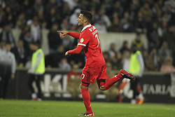 November 5, 2017 - Guimaraes, Guimaraes, Spain - Benfica's Greek midfielder Andreas Samaris celebrates after scoring goal during the Premier League 2017/18 match between Vitoria SC and SL Benfica, at Dao Afonso Henriques Stadium in Guimaraes on November 5, 2017. (Credit Image: © Dpi/NurPhoto via ZUMA Press)