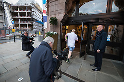© Licensed to London News Pictures . 02/10/2017. Manchester, UK. Foreign Secretary BORIS JOHNSON returns to the Midland Hotel after a morning jog . The second day of the Conservative Party Conference at the Manchester Central Convention Centre . Photo credit: Joel Goodman/LNP