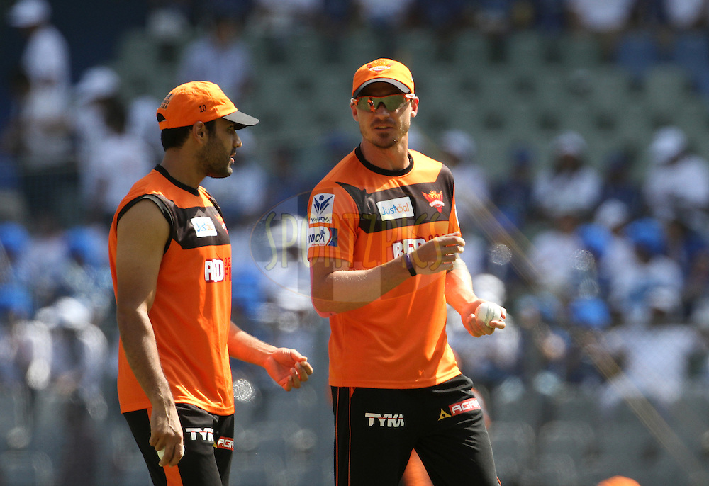 Sunrisers Hyderabad player Dale Steyn and Sunrisers Hyderabad player Ravi Bopara before the start of the match 23 of the Pepsi IPL 2015 (Indian Premier League) between The Mumbai Indians and The Sunrisers Hyderabad held at the Wankhede Stadium in Mumbai India on the 25th April 2015.<br /> <br /> Photo by:  Vipin Pawar / SPORTZPICS / IPL
