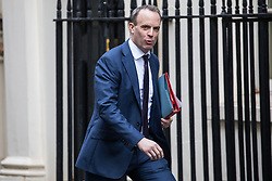 London, UK. 28 January, 2020. Dominic Raab, Secretary of State for Foreign and Commonwealth Affairs, arrives at 10 Downing Street for a National Security Council meeting convened to finalise the role of Chinese multinational technology company Huawei in the construction of the UK's 5G digital network.