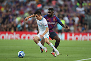 Samuel Umtiti of FC Barcelona duels for the ball with Hirving Lozano of PSV Eindhoven during the UEFA Champions League, Group B football match between FC Barcelona and PSV Eindhoven on September 18, 2018 at Camp Nou stadium in Barcelona, Spain - Photo Manuel Blondeau / AOP Press / ProSportsImages / DPPI